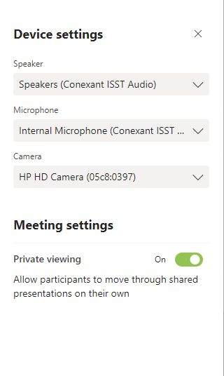 Image of Device Setting page when you go to Show Device Settings in Teams Meeting. Shows drop down options for Audio and Video devices.