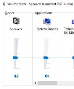 Image of the volume mixer software showing the volume for speakers and system sounds.