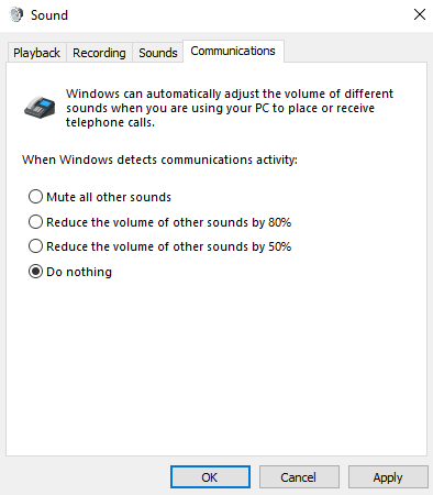 Image of Sound Control Panel and the Communications Tab.  The radio button next to Do Nothing is selected.